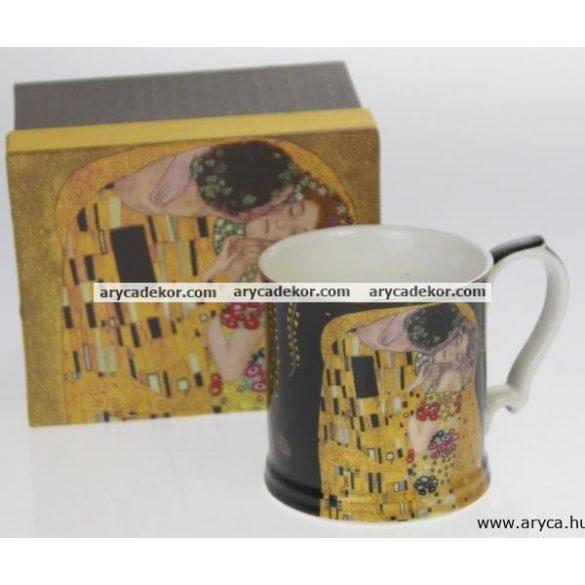 Porcelán bögre, Klimt, fekete, közepes