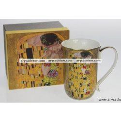 Porcelán bögre, Klimt, barna, magas