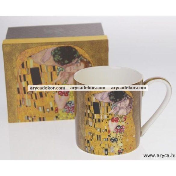 Porcelán bögre, Klimt, fekete, nagy