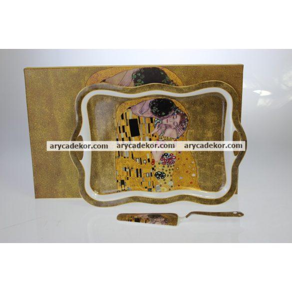 Porcelán tálca és kanál szett, Klimt