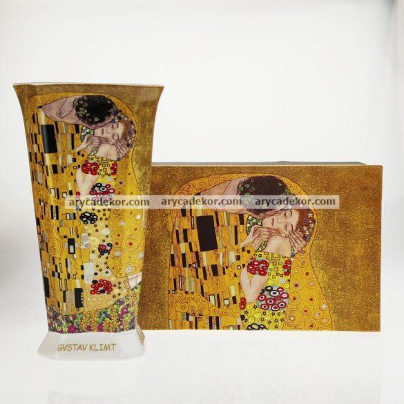Porcelán váza nagy, díszdobozban, Klimt, barna