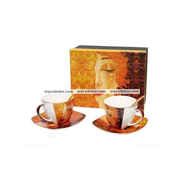 Gustav Klimt porcelán 2 személyes teáskészlet díszdobozban
