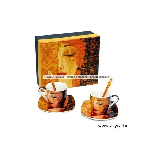 Gustav Klimt porcelán 2 személyes kávéskészlet díszdobozban