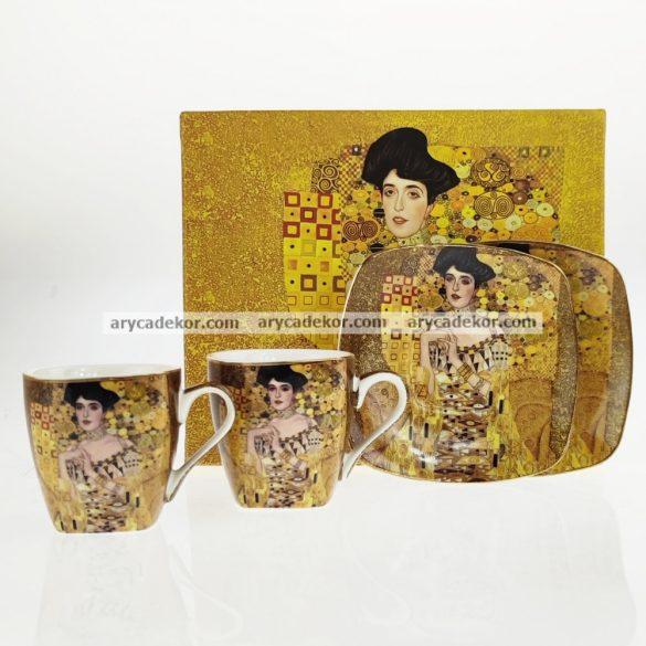 Klimt (Adele Bloch) porcelán eszpresszókészlet díszdobozban.