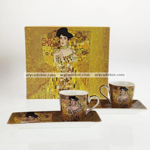 Gustav Klimt porcelán eszpresszó kétszemélyes készlet díszdobozban