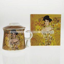 Gustav Klimt porcelán bögre szűrővel díszdobozban