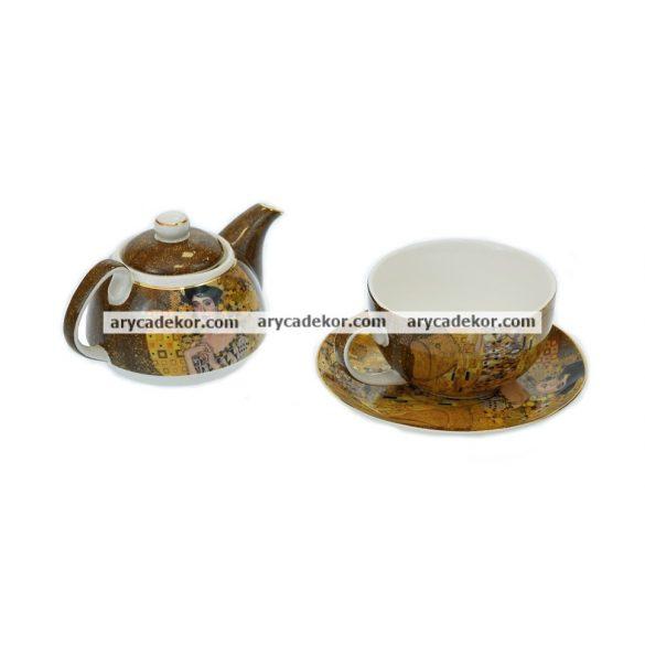 Gustav Klimt porcelán teás szett  díszdobozban
