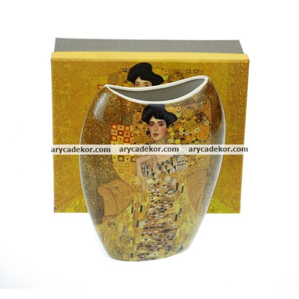 Klimt porcelán váza díszdobozban.