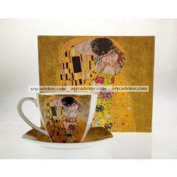 Porcelán bögre alátéttel Klimt mintával 250 ml