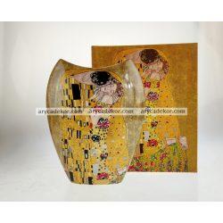 Porcelán váza Klimt mintával 25 cm