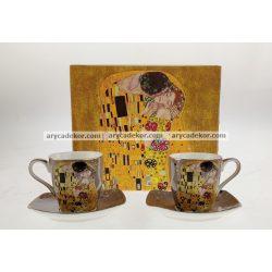 Porcelán eszpresszó szett szürke Klimt mintával 90 ml