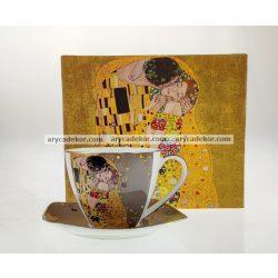 Porcelán bögre alátéttel szürke Klimt mintával 250 ml