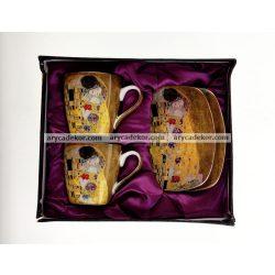 Porcelán eszpresszó szett Klimt mintával, belül lila díszcsomagolásban 90 ml