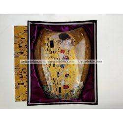 Porcelán váza Klimt mintával, belül liladíszcsomagolásban 25 cm