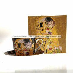 Porcelán bögre alátéttel, fekete Klimt mintával 500 ml