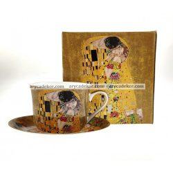 Porcelán bögre alátéttel, Klimt mintával 500 ml
