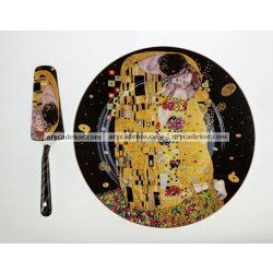 Porcelán tányér torta kanállal fekete Klimt mintával