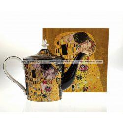 Porcelán teáskanna fekete Klimt mintával