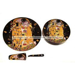 Porcelán tányér készlet torta kanállal fekete Klimt mintával (1 db 27 cm + 6 db 19 cm-es tányér)