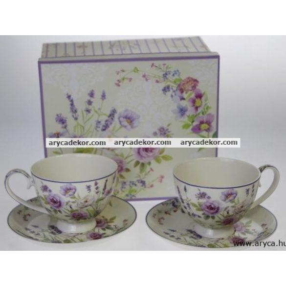 Levendulás porcelán csésze és csészealj szett, 2db, levendulás (LEVENDULA0007)