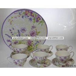 Levendulás porcelán csésze és csészealj szett, 6db.