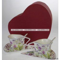 Levendulás porcelán csésze és csészealj kiskanállal, 2db.