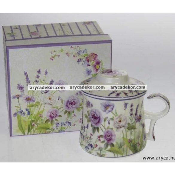 Levendulás porcelán csésze szűrővel és fedéllel