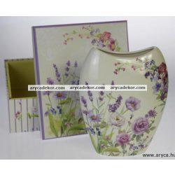 Levendulás porcelán váza ovális, díszdobozban.