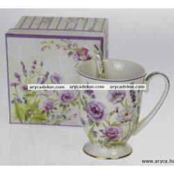 Levendulás porcelán csésze kiskanállal