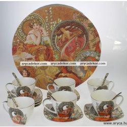 Porcelán csésze szett 6 darabos, díszdobozban, Mucha