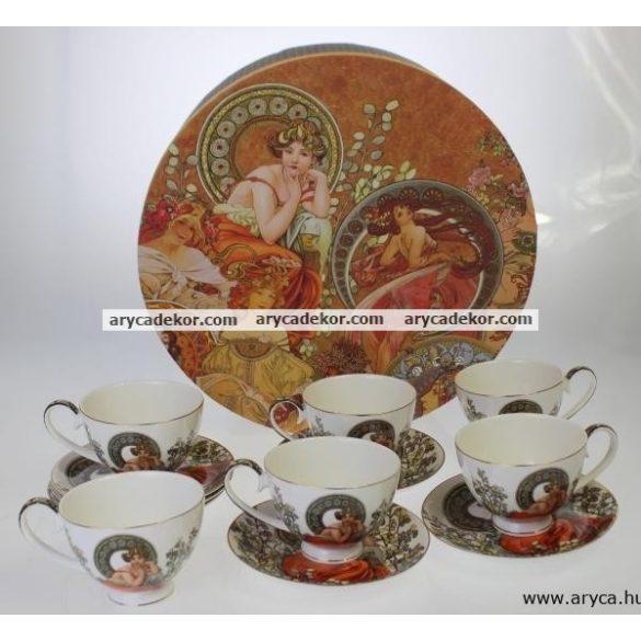 Porcelán csésze és csészealj szett, 6db