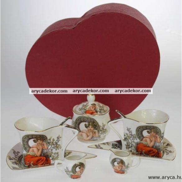 Porcelán kávés szett, díszdobozban