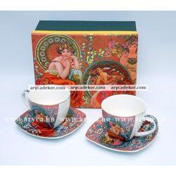 Alfons Mucha porcelán 2 db-os teáskészlet díszdobozban