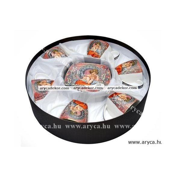 Alfons Mucha porcelán 6 db-os teáskészlet díszdobozban