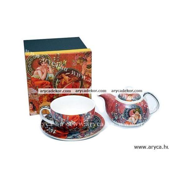 Alfons Mucha porcelán teáskészlet díszdobozban