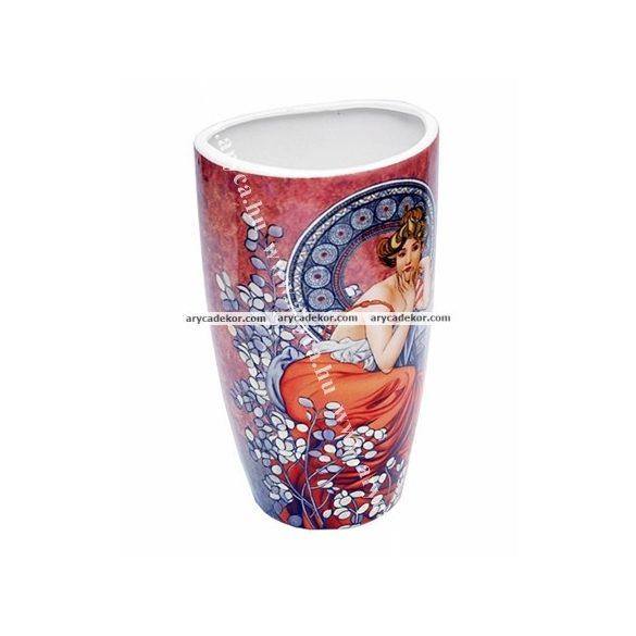 Alfons Mucha porcelán váza díszdobozban.
