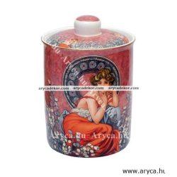 Alfons Mucha porcelán konyhai tároló díszdobozban