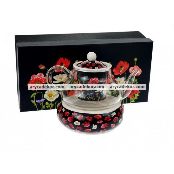 England Collection porcelán teáskészlet, üveg kannával díszdobozban