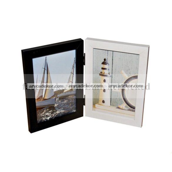 Fa hatású műanyag fekete-fehér dupla képkeret 2/10x15 cm