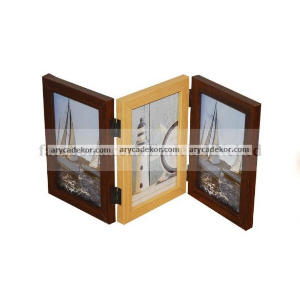 Fa hatású műanyag s. barna-vil. barna tripla képkeret 3/10x15 cm