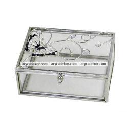 Üveg tárolódoboz 12x5 cm