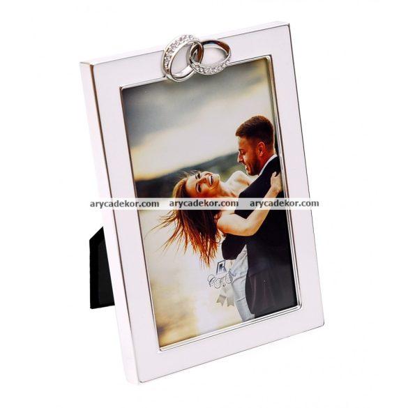 Esküvői festett képkeret gyűrű díszítéssel  13x18 cm