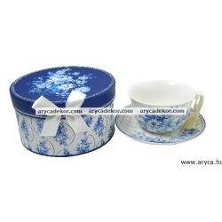 Porcelán teáscsésze+csészealj díszdobozban