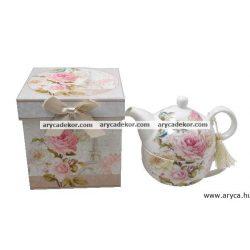 Porcelán teáscsésze+teáskanna szett díszdobozban