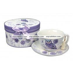 Porcelán teáscsésze+csészealj díszdobozban (TEA029)