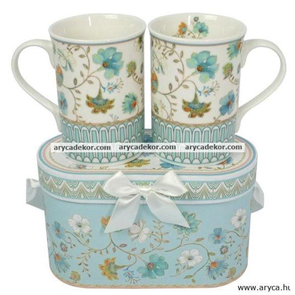 Porcelán teásbögre szett 2db díszdobozban