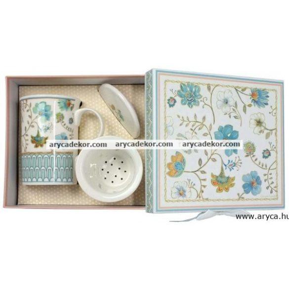 Porcelán teásbögre szűrővel és fedéllel díszdobozban