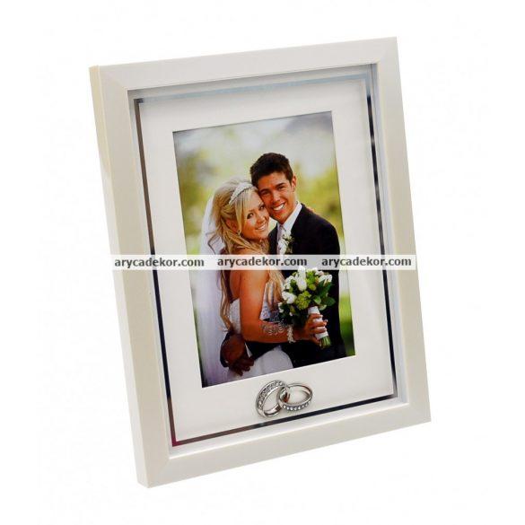Esküvői fa képkeret paszpartuval 13x18 cm